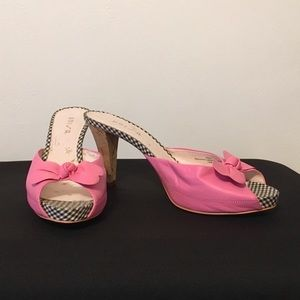 """Pink Leather 4"""" Heel Mules with Bow"""